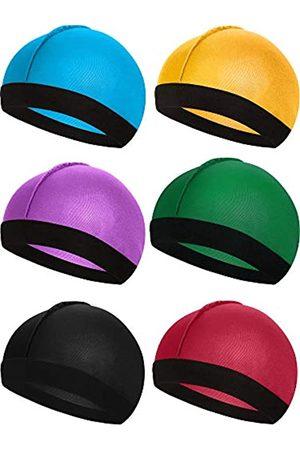 Syhood 6 Stücke Gummiband Seidige Wellen Kappen für Herren Seidenmaterial für 360 540 und 720 Wellen (Farbe 2)