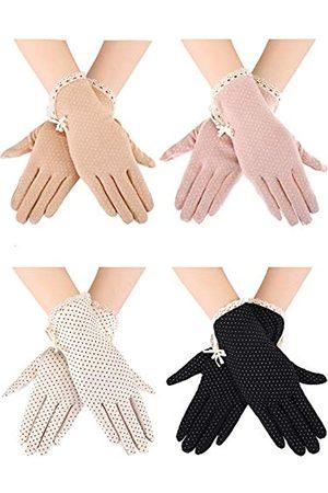 Blulu 4 Paar Sommer-Handschuhe, UV-Schutz, Sonnenschutz, rutschfeste Touchscreen-Handschuhe mit Schleife