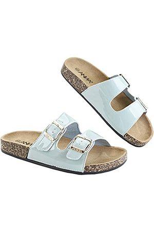 Anna Van Toor Glory Damen Slide Sandalen Kork Fußbett Doppelschnalle, (Aqua Patent)