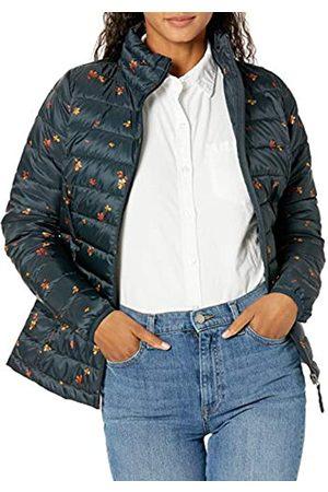 Amazon Damen Lightweight Water-resistant Packable Puffer Jacket Steppjacke,mehrfarbig(Marineblau mit Blumenmuster.)