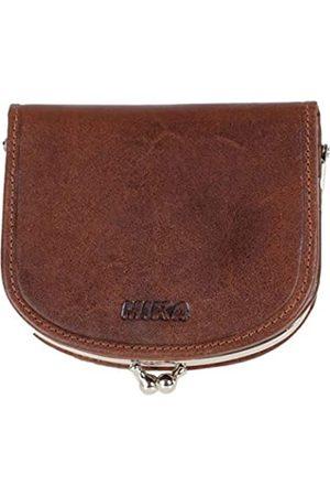 Mika 42226 - Geldbörse aus Echt Leder, Portemonnaie im halbrund Format, Geldbeutel mit RFID Schutz, 6 Kartenfächer, 2 Einschubfächer und Münzfach mit Bügel, Brieftasche, ca. 10 x 9 x 2