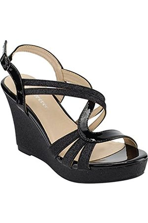 FOREVER FQ22 Women's Glitter Strappy Wrapped Wedge Heel Platform Sandals