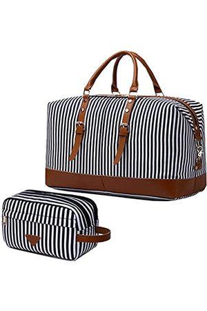 IBLUE Übergroße Segeltuch-Reisetasche mit Echtlederbesatz, Reisetasche, Schultertasche, Wochenendtasche, Reisetasche für Wochenende, Übernachtung