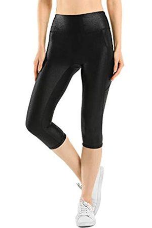 Retro Gong Damen Capri-Leggings aus Kunstleder, hohe Taille