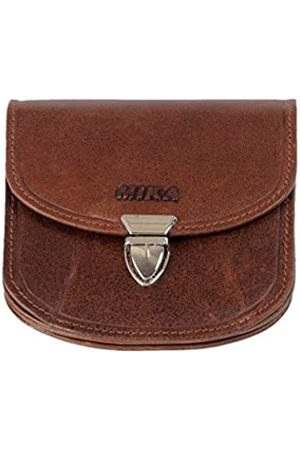 Mika 42225 - Geldbörse aus Echt Leder, Portemonnaie im halbrund Format, Geldbeutel mit RFID Schutz, 6 Kartenfächer, 3 Einschubfächer, Scheinfach und Münzfach, Brieftasche in