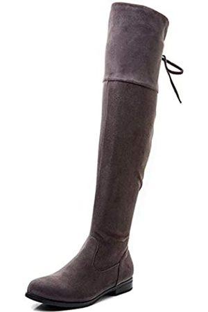 LifeStep Damen Lace Up Round Toe Low Heel Overknee Stiefel