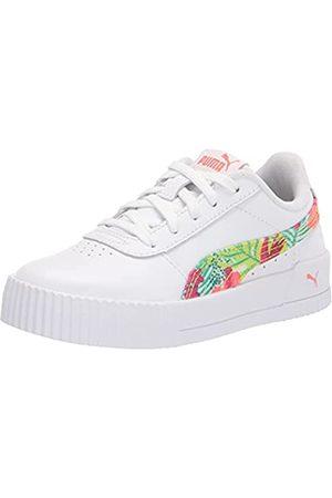 PUMA Girls Carina Sneaker, White-Georgia Peach