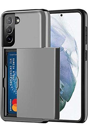 Aoksow Schutzhülle für Samsung Galaxy S21, mit Kartenhalter, Hart-PC, weich, Gummi, Stoßfänger für Samsung Galaxy S21 6