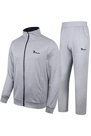 YSENTO Herren 2 Stück Jogginganzüge Athletic Trainingsanzüge Sweatsuit Workout Training Sportswear Activewear - Grau - Large
