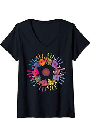 EDDArt Damen Astrological Sun Sign - Community Hands 1 - Fan Fun T-Shirt mit V-Ausschnitt