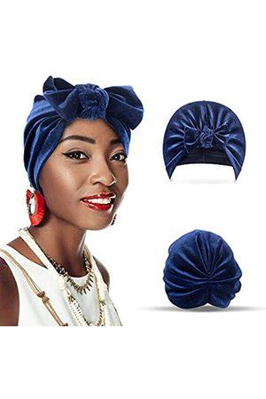 Tiegan Samt-Turban für Frauen mit Schleife, weicher Stretch-Kopfwickel, geknotete Beanie-Mütze