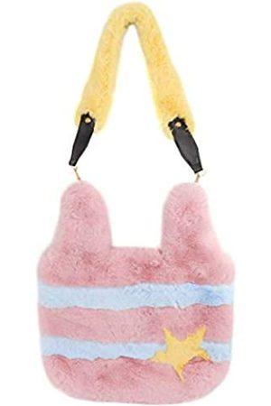 Surell Gestreifte Faux Rex Kaninchen Pelz Schultertasche - Pastell Fuzzy Tote - Süße flauschig weiche Tasche mit Herz - Luxuriöse Mode Geldbörse Geschenk - Kawaii Love Tote Bag - Stilvolle Handtasche - (Rosa/Blau/Gelb)