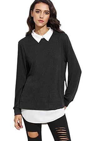 ROMWE Damen 2-in-1 Langarm Bluse mit Kontrastfarbe Herbst Winter Langarmshirt Pullover L