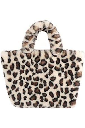 Surell Handtasche aus Kunst-Rex-Kaninchenfell-Leoparden-Print, kleine flauschige Tragetasche – niedlicher Y2K-Stil – luxuriöse, flauschige Mode-Geldbörse