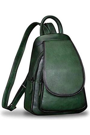 IVTG Leder-Rucksack für Damen, Vintage-Stil, handgefertigt, lässig, kleiner Rucksack, Gr�n