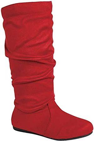 Wells Collection Damen Slouchy Stiefel weich flach bis niedriger Absatz unter dem Knie hoch