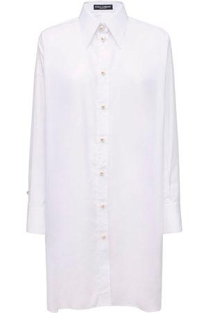 Dolce & Gabbana Damen Freizeitkleider - Hemdkleid Aus Popeline Mit Spitze