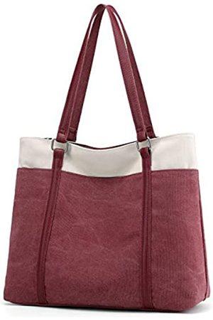 Wxnow Damen Laptop-Tasche Canvas Handtasche Schultertasche, (C-bordeaux)