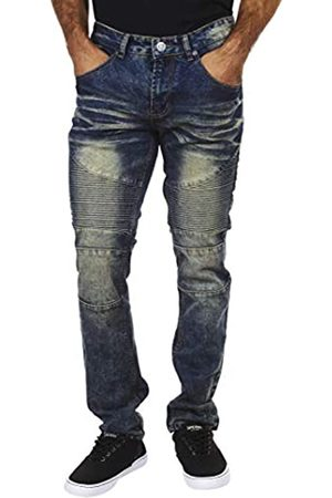 Encrypted Chiffrierte Skinny Fit Herren Jeanshose Stretch Enhanced Moto Jeans für Herren - Blau - 32W / 32L