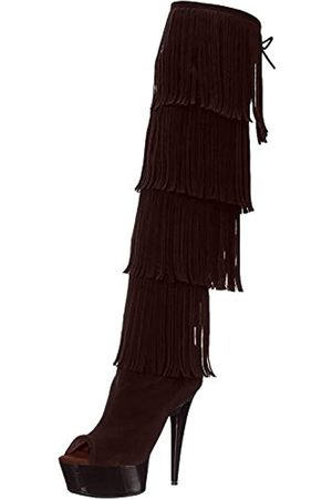 The Highest Heel Damen Stiefel 305, Oberschenkelhoch, offener Zehenbereich, Mikroveloursleder, Fransen, bernsteinfarben