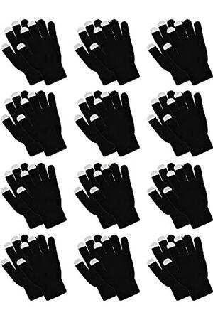 Pangda 12 Paar Touchscreen-Handschuhe, dehnbar, gestrickt, warm, winddicht, einfarbig
