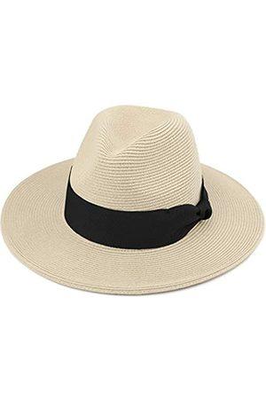 Melesh Strohhut für Damen und Herren, feines Zopfmuster, breite Krempe, Sonne, Strand