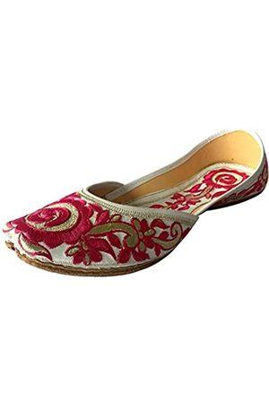 Step N Style Flache Ballerinas für Damen, Punjabi, Jutti, Khussa, Tribal-Schuhe, Perlenschuhe