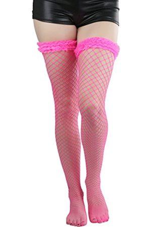 ToBeInStyle Damen Spandex Mini Diamant Netz Oberschenkel Hi mit Mini Rüschen Top - Pink - Einheitsgröße