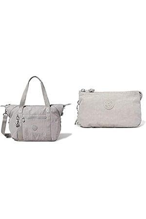 Kipling Damen Art Tote Bag, Grey Gris, Einheitsgröße + Womens CREATIVITY L POUCHES/CASES, Grey Gris