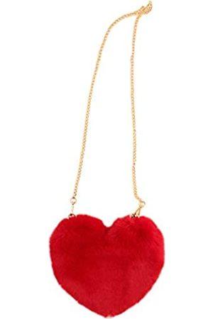 Surell Faux Rex Kaninchen Pelz Herz Form Tasche - Fuzzy Crossbody Bag - Süße flauschige Liebestasche mit Herz - Luxuriöse Mode Geldbörse Geschenk - Kawaii Love Tote Bag - Stilvolle Mod Handtasche