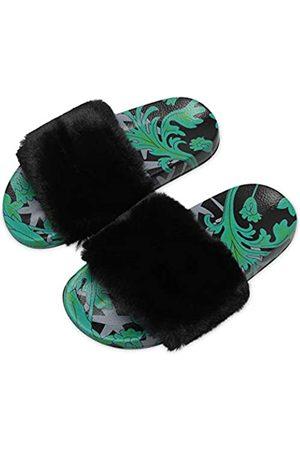 Barerun Damen Fuzzy Faux Pelz Flach Spa Slide Hausschuhe Open Toe Haus Indoor Schuhe Sandalen, Gr�n ( / )