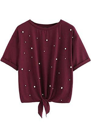 ROMWE Damen-T-Shirt mit Perlen und kurzen Ärmeln, Knoten, lässig