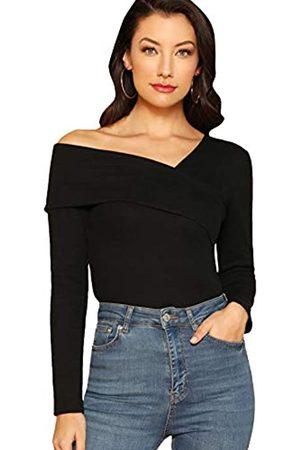ROMWE Damen Casual Cross Off Shoulder Tiefer V-Ausschnitt Rippstrick Slim Wrap Tee Shirt Bluse - - X-Klein