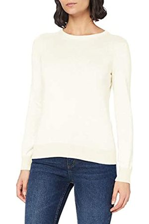 MERAKI Amazon-Marke: Baumwoll-Pullover Damen mit Rundhals (Ivory), 40
