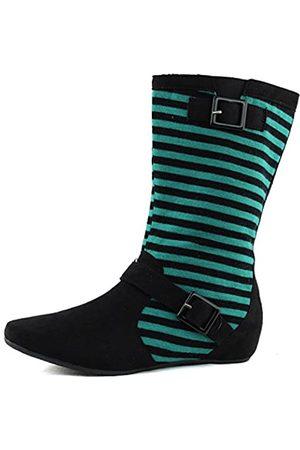 Qupid Damen Mid Wade Knöchelriemen Mid Knie Seite Reißverschluss versteckter Keilabsatz Stiefel Mode Schuhe, Schwarz (Blaugrün)