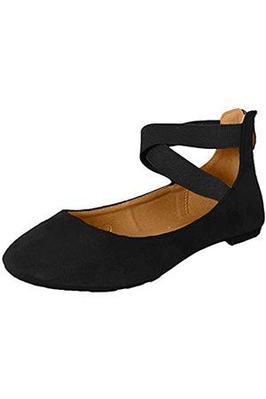 Anna Van Toor Dana Damen Klassische Ballerinas mit elastischen überkreuzten Trägern, (schwarzes Nubukleder)