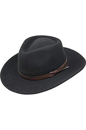 Borges & Scott Hardy - Leichter Fedora Hut mit breiter Krempe und Lederband - 100% Wollfilz - Für die Reise knautschbar - Wasserabweisend - 58cm