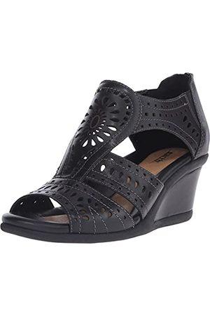 Earth Women's Crown Wedge Sandal,Black Soft Calf Leather