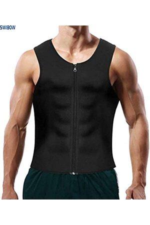 Swibow Herren Sauna Sweat Zipper Weste für Gewichtsverlust Hot Neopren Korsett Taille Trainer Body Top Slimming Fitness Sweat Suit (