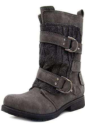 Rampage Damen Jelly Casual Doppelschnalle Moto Boot Ladies Mid Calf Sweater Detail Schuh