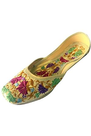 Step N Style Damen Flache Phulkari Schuhe Leder, (Mehrfarbig)