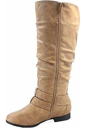 Top Moda Coco-20 Damen-Reitstiefel, runder Zehenbereich, niedriger Absatz, kniehoch, Reißverschluss, (taupe)