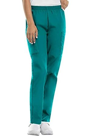 Cherokee Women's Workwear Elastic Waist Cargo Scrubs Pant, Teal Blue
