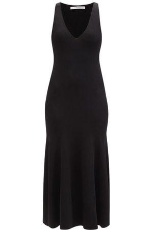 Another Tomorrow V-neckline Ribbed-jersey Midi Dress