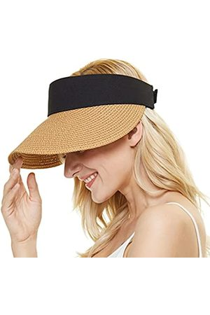 ZORBA Sonnenblenden-Hüte für Frauen, breite Krempe, Stroh-Sonnenhut, Windband, aufrollbar, Strandhut, unordentlicher Dutt