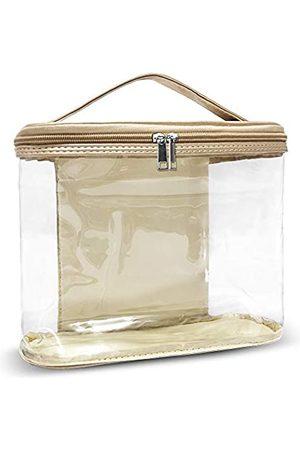 YORONIDA Kosmetiktasche, tragbar, durchsichtig, Kulturbeutel, Make-up-Tasche, Handgepäck, transparent, PVC-Tasche, Handtaschen-Aufbewahrung, Organizer mit Griff, für Damen und Herren, Reisezubehör