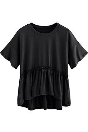 ROMWE Damen Locker Baumwollbluse mit Rüschenkanten Kurzarm T-Shirt Tunika XXL
