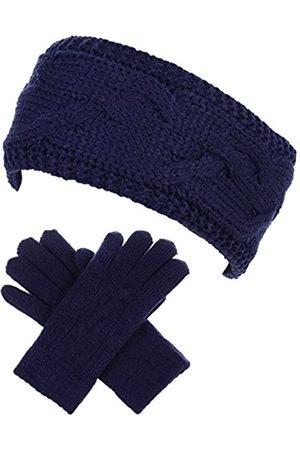 Be Your Own Style BYOS Damen Winter Kabel Plüsch Warm Fleece Gefüttert Strickhandschuhe & Stirnband 2-teiliges Set