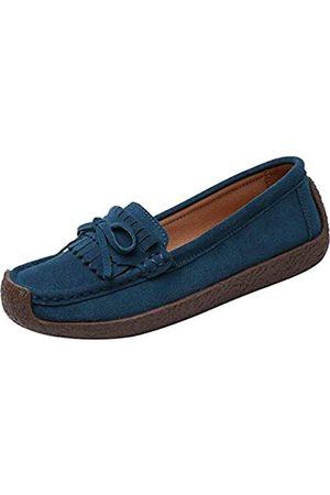 Jiu du Damen Mokassins Hausschuhe Wildleder Loafers Geschlossene Runde Zehe Slip on Quaste Casual Driving Walking Flats Weiche Schuhe, (Nubukleder )