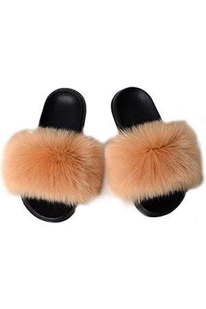 YIJIARAN Damen Pelz Slide Slipper Sandale mit weichem Pelzimitat Fuchsfell Lovely House Outdoor Hausschuhe für Damen Mehrfarbig, Beige (khaki)